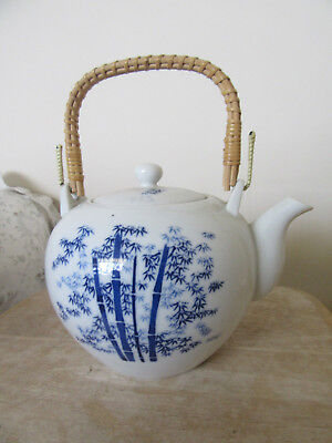Teapot, White With Blue Bamboo And Bamboo Handle