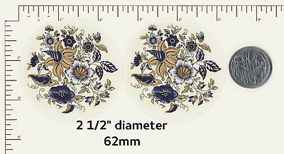 """2 Waterslide ceramic decals Decoupage Navy / Gold fantasy floral. 2 1/2"""" dia.R38"""