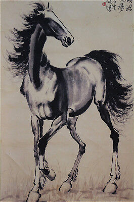 """Excellent Chinese Hanging Painting & Scroll """"Horse"""" By Xu Beihong 徐悲鸿 WED898"""