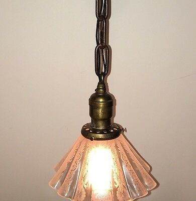 "17"" Long Vintage Antique Pendant Light With Beautiful Pleated Etched Shade 28A"