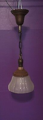 """Great 100 Year Old Pendant Light Vintage Antique 7"""" Shade! 29B"""