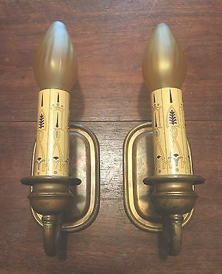 Brass Sconces Vintage Antique Wired Matched Pair 1E