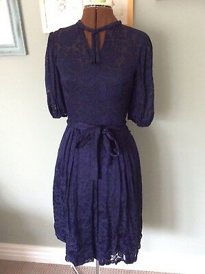 Vintage Retro 80s Patterned Tea Dress Gown Special Occasion Secretary
