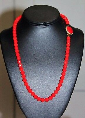 Vintage Art Deco Rev Bright Red Faceted Glass Fancy Clasp Necklace NG1