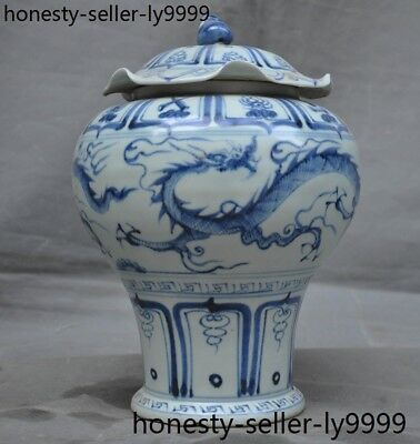 Chinese dynasty Blue&white porcelain Dragon eight treasures Tanks Crock pot jar