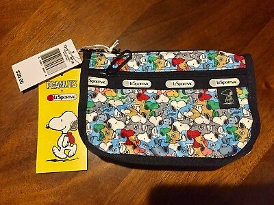 New Snoopy Peanuts X Lesportsac Cosmetic Bag Purse Collectible Multi-color