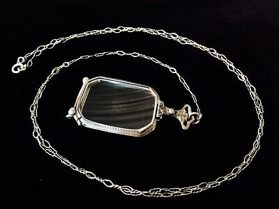 Antique STERLING Folding Ornate ART DECO SPECTACLES with Drop Chain