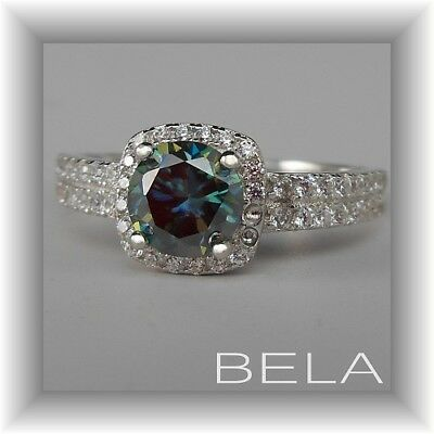 Blue Moissanite Brilliant Cut Gemstone Solid 925 Sterling Silver Halo Ring