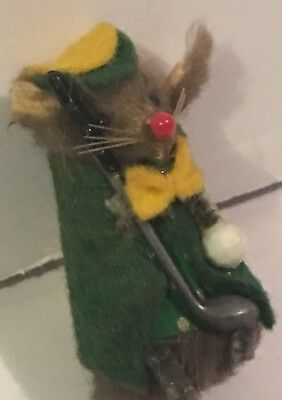 Vintage Little Mouse Golfer Fur Toys Made in W Germany Dressed