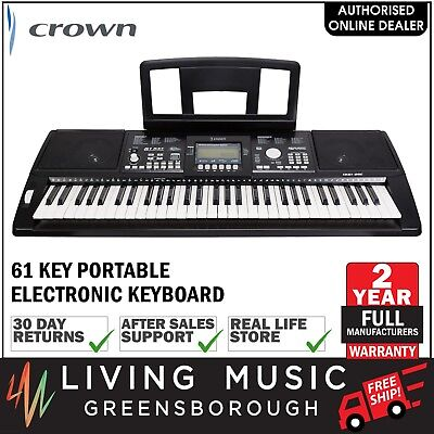 NEW Crown 61 Key Portable Touch Sensitive Electronic Keyboard