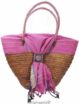 Shoulder Bag Carry Tote Beach  Woven Rattan Cotton Beaded Handle