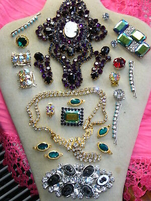 Huge Vintage Exlusive Antique  Rhinestones Lot Of Jewerly Mix Glass  B205