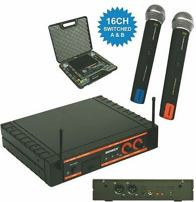 Sonken Dual 16 Channel Wireless Microphone System Dual UHF Receiver 2X MIC