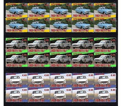 FORD CORTINA Mk 1, AUTO ICON SET OF 3 MINT STAMP STRIPS