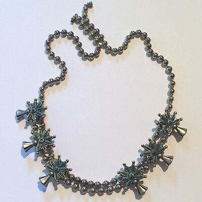 Heavy VINTAGE Native American SQUASH BLOSSOM BEADED Necklace