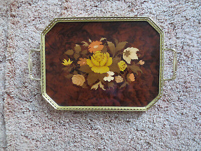 Italian Drinks Serving Tray Floral Marquetry Effect