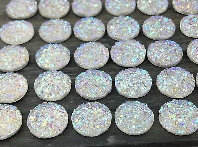 AB 12mm Cabochons - Druzy Resin Cabs - Mermaid Unicorn Sparkly Cabs  FBC154a