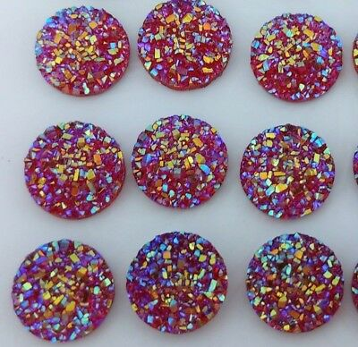 Red 12mm Cabochons - Druzy Resin Cabs - DIY Earrings Craft Scrapbooking  FBC155r