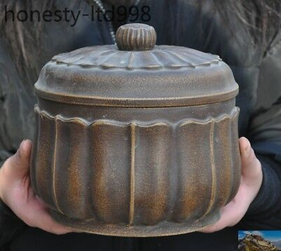 """7"""" Marked Old Chinese Yixing Zisha Pottery lotus leaf Tea pot Tea caddy canister"""