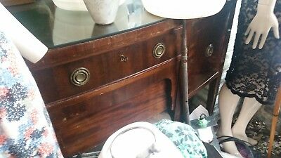Victorian Mahogany Dresser With Long Taper / Legs And 4 Deep Draws Un Restored