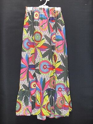 1970's/80's  Vintage Maxi Skirt in Bright Bold Abstract Pattern with Elastic Wai