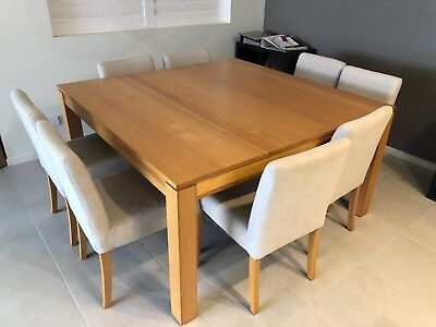 8 Seater Solid Timber Dining Table With Chairs