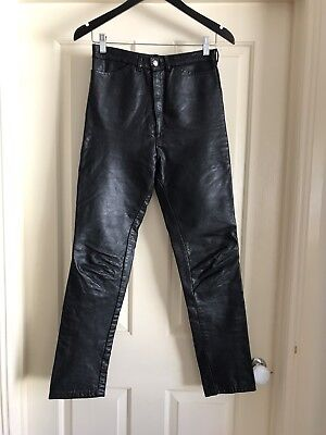 Vintage Black Leather High Waisted Pants Size 28