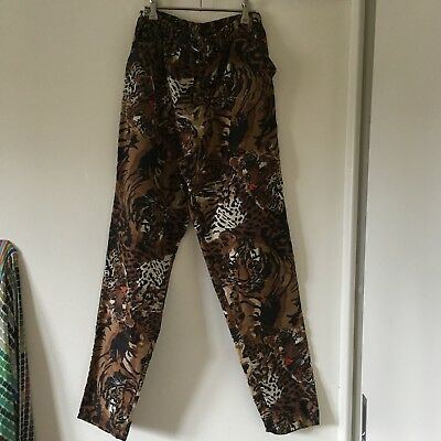 Vintage 80s Avant Garde Leopard / Tiger Print Pants Size Small-medium