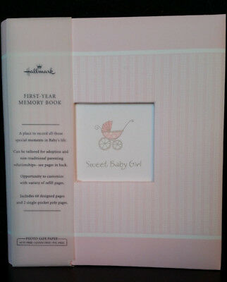 "HALLMARK ALBUM FIRST-YEAR MEMORY BOOK ""SWEET BABY GIRL"" PINK 68pages-NEW"
