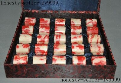 """16""""Old Chinese Chicken Blood Stone master hand carved seal stamp signet set"""