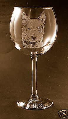 Etched Australian Cattle Dog on Elegant Wine Glasses - Set of 2