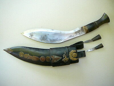 Antique Gurka Kukri Knife with Scabbard, Chakmak and Karda - Nepalese