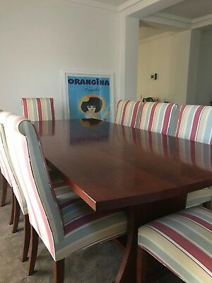 Red Gum solid Dinning Table and upholstered Chairs in excellent condition