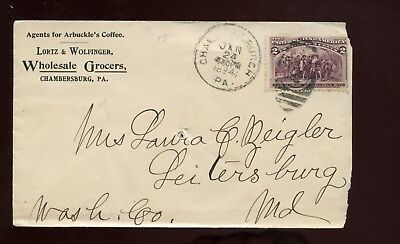 US Mid-Atlantic Advertising Cover (Wholesale Grocers) 1894 Chambersburg, Pa
