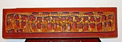 Early 19th Century Qing Chinese Carved Pierced Gilt Wood Panel Court scene