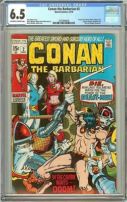 Conan the Barbarian #2 (1970) CGC 6.5 OW to White Pages 1227608009