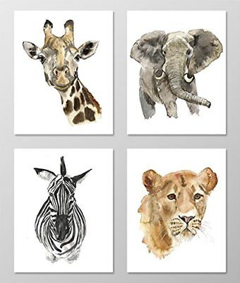 Nursery art #A002 Set of 4 Animal prints 8x10 wall art.Safari nursery.Watercolor