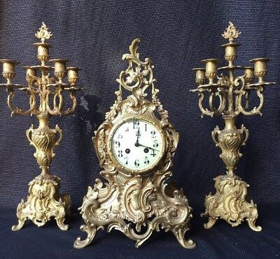 Pendulum Cartel Napoleon Iiii Bronze Golden + 2 Candelabra / Support Fireplace