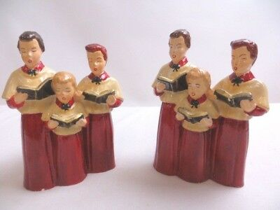 """Set Of Two- Vintage 7"""" High Unbranded Hand-Painted Three Singing Carolers- Wear"""