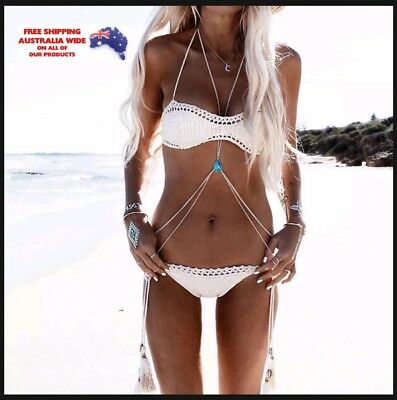Turquoise Bead Bikini Crossover Slave Silver Necklace Belly Body Chain Jewellery
