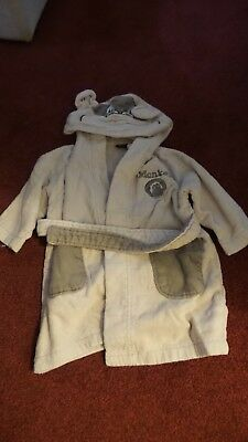 NEXT Boys Beige Hooded Towelling Robe with Monkey Design Age 12/18 Months