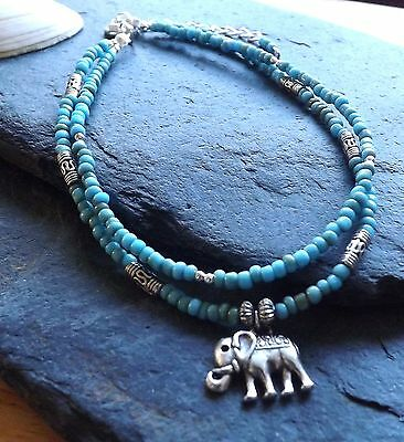 Turquoise Beads Double Strand Elephant Charm Festival Beach Anklet
