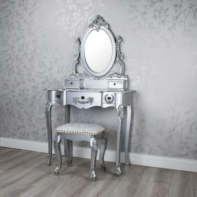 Antique Silver French Style Dressing Table Set With Mirror Stool B082