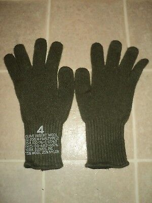 Genuine Us Military Issue Wool Glove Liner Inserts Size 4 New