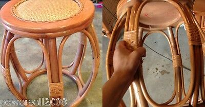 American  Brown Plant Cane Round Tea Table Stool Footstool  &$