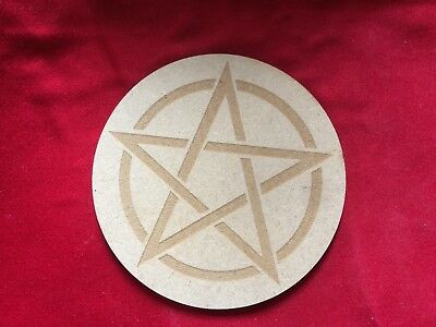 """PENTAGRAM COASTER  WICCAN PAGAN WITCH CRAFT - 4"""" NEW Wooden 10cm Altar Tile Star"""