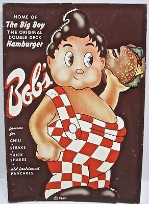 "Vtg 1949 ""Bob's Big Boy"" Menu Hamburger Glendale Burbank Eagle Rock Van Nuys"