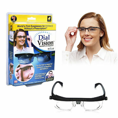 Adjustable Glasses Spectacles Dial Vision Distance Reading & Case Men & Woman