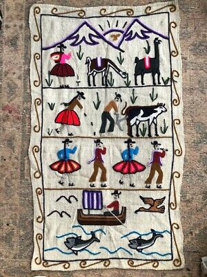 Kids vintage wool embroidery woven tapestry wall hanging South American scene