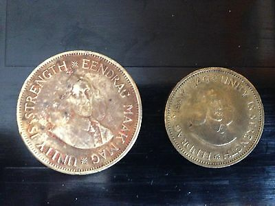 1961 South Africa Brass  1c  and 1/2 c Coins  (book B)